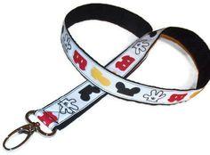 Lanyard - Mickey Mouse - Lanyard with push gate swivel hook - ribbon. $9.00, via Etsy.