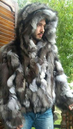 New in!!!Natural Real Hooded Mens Modern Short Fur Jacket from Natural darker tone Silver Fox! You can order it also with leather zipper.Also you can order it longer or like a vest or without hood. The perfect winter jacket!!! Order your size,length,or model! Super
