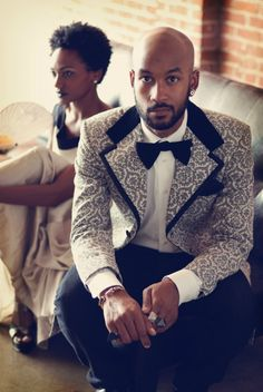 A pattered tux, worth trying. I like his pattern B.V. #mens #suit
