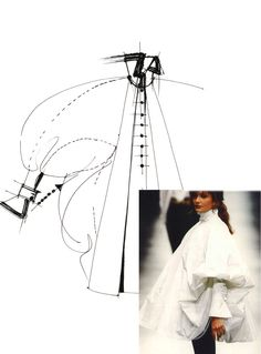 Ferre's sketch of the white shirt from the Fall/Winter 1993-1994 collection and Helena Christensen wearing this design