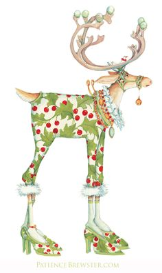 The jazzy girl from the Dash Away Reindeer collection by Patience Brewster, Vixen is all glammed up for the holidays in vines and berries, beads and feathers to take flight in her high heels on Christmas Eve.