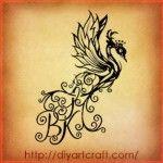 Lettere stilizzate KBS: stelle orchidea e fenice in 3 disegni tattoo