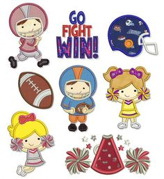TEAM SPIRIT Applique SET 4x4 5x7 6x10 Machine Embroidery Design football cheerleader helmet player pom. $7.49, via Etsy.