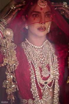 Priyanka Chopra Looking Ethereal On Her Wedding Day. The Red Lehenga Is By Sabyasachi And The Wedding Took Place At Jodhpur's Umaid Bhawan Palac. Indian Bridal Outfits, Indian Bridal Fashion, Indian Bridal Makeup, Bridal Beauty, Red Wedding Lehenga, Red Lehenga, Lehenga Choli, Indian Bridal Lehenga, Wedding Hijab