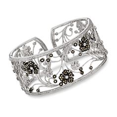 Brown and White Diamond Floral Cuff Bracelet In 14kt White Gold    would take in 18kt or 21, but not in 14