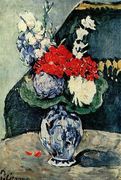 """Small Delft Vase w/ Flowers"" -- 1873 -- Paul Cezanne -- French -- Oil on canvas -- Musée d'Orsay, Paris."