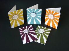 Sunburst Sayings Note Cards | Video Tutorial, Sunburst Sayings Stamp Set, Sunburst Thinlits, 2014-2016 In-Colors, CAS, Stampin' Up, Qbee's Quest, Brenda Quintana