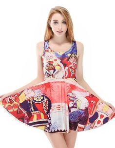 King And Queen Alice In Wonderland Sleeveless Skater Dress