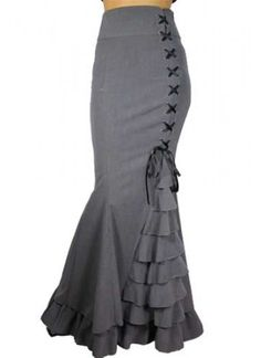 Grey Fishtail Ruffles Victorian Skirt