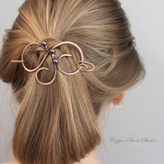 Copper Hair Clip, Wire Hair Slide, , Hair Pin, Hair Stick, Hair Barrette, Copper Wire Purple Pearls & Crystals, Hair Accessories Aunt Gift by CopperStreetStudios on Etsy https://www.etsy.com/listing/230490826/copper-hair-clip-wire-hair-slide-hair