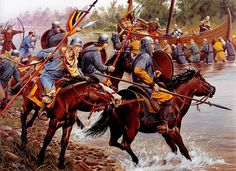 """Carolingian cavalry attack on Viking raiders, late century"", Wayne Reynolds Wayne Reynolds, Historical Art, Historical Pictures, Military Art, Military History, Vikings, Ottonian, Merovingian, Germanic Tribes"