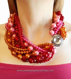 Bright colors are still everywhere this season! Why not mix up your Holiday party with some not-so-expected Holiday colors...     GRAND TWISTED Vintage Statement Necklace Pink by JewelryByJessicaT,