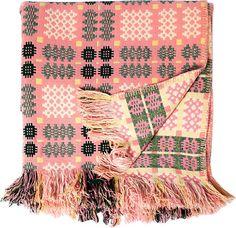 Vintage Welsh blanket  - Yellow, Pink