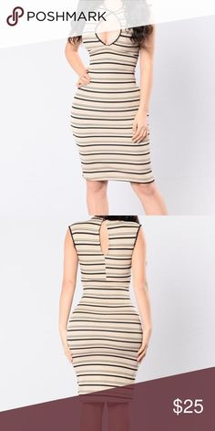 NWT FASHION NOVA STRIPE SENSATION Xl. Never been worn. Stretchy. Sexy. Nude. Exact dress in image Fashion Nova Dresses Midi