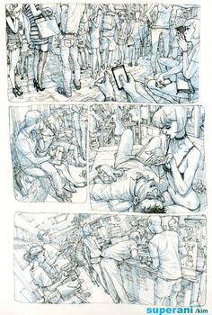 Drawing by Kim Jung Gi Comic Book Artists, Comic Artist, Comic Books Art, Junggi Kim, Comic Layout, Comic Manga, Kim Jung, Comic Panels, Figure Drawing