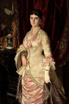 """""""The Portrait of a Lady in satin dress"""" (1882) by  Bolesław Łaszczyński (Polish,1839-1909),  oil on canvas,  141 x 95, National Museum, Warsaw."""