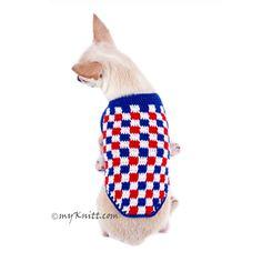 Plaid Red White Blue Dog Shirt 4th of July USA Handmade Crochet DK792 Myknitt (3)