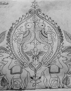 new Ideas jewerly art bird Peacock Embroidery Designs, Hand Embroidery Design Patterns, Embroidery Motifs, Kalamkari Painting, Jewelry Design Drawing, Pencil Design, Indian Art Paintings, Art Drawings Sketches Simple, Fabric Painting