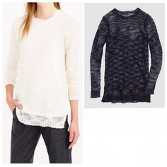 "NWT J.Crew Loose Fit Open Knit Sweater Navy Blue S ▪️ J.Crew  ▫️ Open knit sweater. ""airy and light, with a slightly open knit that creates a gauzy feel.""  ▪️ Size Small  ▫️ 50% Acrylic        40% Wool         10% Mohair  ▪️ New with tags! Originally $70                                 ▫️ Navy blue   ▪️ Bust - 18.5"" across the front, lying flat. Has stretch!  ▫️ Length - 29"" from shoulder to hem.    Bundle to Save 20%!  ❌ No Trades, Holds, PP   100% Authentic!    Suggested User // 700+ Sales…"