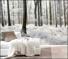 I love this mural and the fluffy white blanket. Maybe we need a sitting couch of some sort?