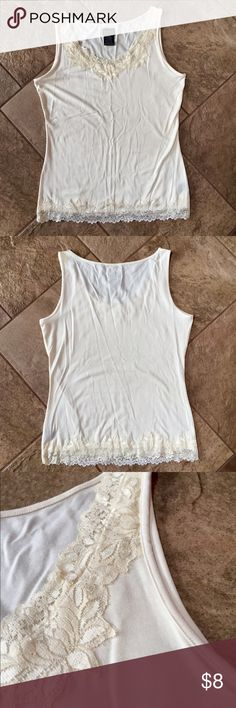 GEORGE Lace Tank Top Cream color with lace detail at the neckline and waist, so soft! EXCELLENT condition! George Tops Tank Tops