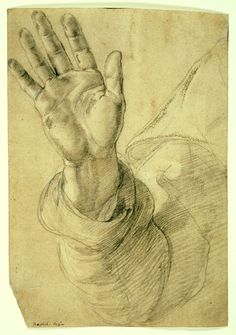 Upraised Right Hand, with Palm Facing Outward: Study for Saint Peter, 1518/1520,  Raffaello Sanzio, called Raphael