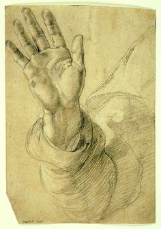 Upraised Right Hand, with Palm Facing Outward: Study for Saint Peter, 1518/1520,  Raffaello Sanzio, called Raphael