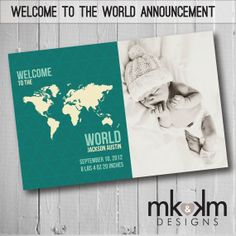 Welcome To The World Baby Announcement - Birth Announcement - Travel Theme - New Baby - Photo Announcement