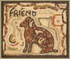 All Seasons  Friend Antique Dog-antique hooked rug, dog hooked rug, vintage dog picture, dog, antique rug