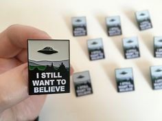 Soft enamel pin badge of the poster in Moulders office, with the word I Still Want To Believe, perfect for 90s nostalgia geeks, or to accompany your alien pin badge (see my other listings).…