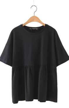 Specifications: Item Type:Tops Tops Type:Tees Decoration:None Clothing Length:Regular Sleeve Style:Regular Pattern Type:Solid Style:Fashion Fabric Type:Broadcloth Material:Cotton,Polyester Collar:O-Ne