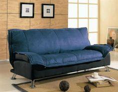 "Contemporary Blue & Black Futon Sofa Bed w/Metal Legs by Coaster Home Furnishings. $330.94. Versatile and functional. Metal frame. Modern design. Contemporary Blue & Black Futon Sofa Bed w/Metal Legs  Sofa Dimension: 78""L 36""W 35""H Bed Dimension: 78""L 49.5""W 22.5""H Finish: Blue and Black Material: Fabric and Metal Futon sofa bed in blue and black cover."