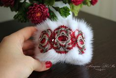 Exclusive fur cuff Bracelet. White Mink with red Swarovski Crystal ELEMENTS. Bead embroidered fur cuff bracelet. Fur jewelry beaded bracelet by FeltSilkArtGift on Etsy