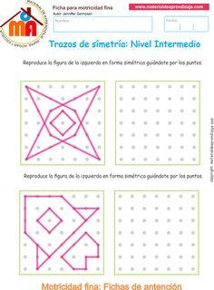 Ejercicio 07nivel intermedio: Actividadesescolares de trazos de simetría paradesarrollar la memoria y la atencióncon los niños.
