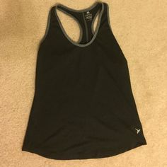 "Workout tank top! Black workout tank top with gray accents, ""semi-fitted"" size small Old Navy Tops Tank Tops"