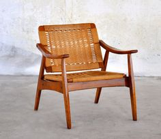 Mid-Century Modern Danish Modern Hans Wegner Style Cord Rope Lounge Easy Chair with Reclining Backrest Made in Yugoslavia Vintage 1950s 60s $400