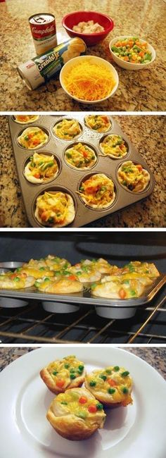 Mini Chicken Pot Pies- TRIED IT (but used crescent rolls instead) and loved it!!! Will definitely be making this again.