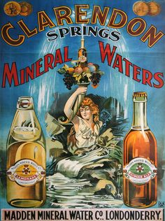 Madden Clarendon Mineral Waters Advertisement Poster - Old Irish Posters- gallery wall