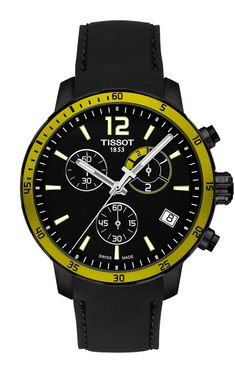 The @tissot Quickster Football with black PVD case features a soccer timekeeping function, powered by a Swiss quartz chronograph movement. The watch has an aluminum bezel, available in various colors based on the jerseys of teams; prices range from $450 to $525. Read more at: http://www.watchtime.com/wristwatch-industry-news/lifestyle/6-watches-that-celebrate-soccer/ #tissot #watchtime #chronograph