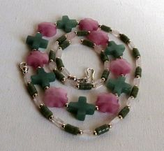 Green Jade and Rose Quartz Necklace with a by Smokeylady54 on Etsy
