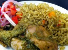Arroz con Pollo (Peruvian style) Recipe - Are you ready to cook? Let's try to make Arroz con Pollo (Peruvian style) in your home! Peruvian Dishes, Peruvian Cuisine, Peruvian Recipes, Peruvian Arroz Con Pollo Recipe, Peruvian Chicken, Steak Dinner Sides, Oxtail Recipes, Water Recipes, Yummy Recipes