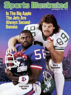 SI cover, Sep, 1986 featuring Lawrence Taylor and Jets' Mark Gastineau New York Giants Football, School Football, Nfl Football, Baseball, Nba Basketball, Football Players, Football Helmets, American Football League, National Football League
