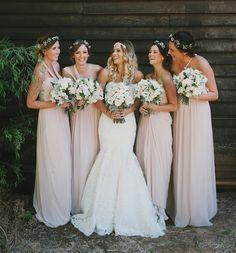 bd657384de boho bridesmaid flower crowns southbound bride #BohoWedding  #PartyFloralCrowns Esküvői Színek, Esküvői Virágok,