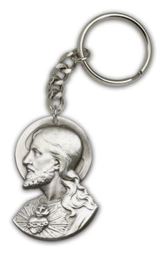 """Antique Silver Sacred Heart Keychain Pendant Medal --2 x 1 3/8"""" Inches Large Auto Car Key Ring Fob Holder In a Gift Box"""