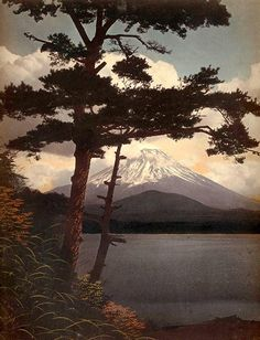 MT.FUJI THROUGH THE PINES IN THE BRISK MORNING LIGHT by Okinawa Soba, ca. 1910   photograph, possibly by T. ENAMI.