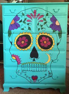 Dia de los Muertos, sugar skull, calavera, day of the dead, turquoise dresser.
