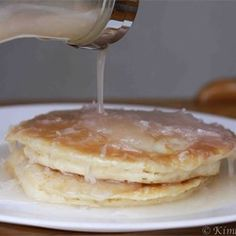 Coconut Pancake Syrup Allrecipes.com ... read some reviews .... some suggest using less cornstarch and maybe adding a bit of coconut extract
