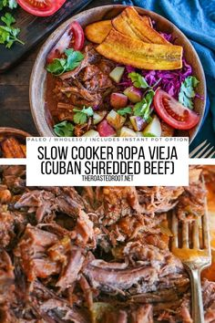 Slow Cooker Ropa Vieja (Cuban Shredded Beef) is an easy, amazing shredded beef recipe loaded with flavor! Post includes an Instant Pot option. Keto, Paleo, Whole30, healthy and delicious! #cuban #cubanfood #beef #recipe #crockpot #instantpot #instantpotbeef Good Healthy Recipes, Easy Dinner Recipes, Easy Meals, Amazing Recipes, Healthy Eats, Shredded Beef, Food Goals, Food Hacks, Crockpot Recipes