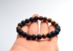 Natural Lava and Tiger Eye beaded bracelet, Unisex jewelry, mens bracelet #Beaded