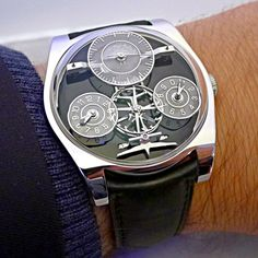 Superb @emmanuel_bouchet_timepieces Complication One on the wrist, the watch features a huge escapement module dial side.